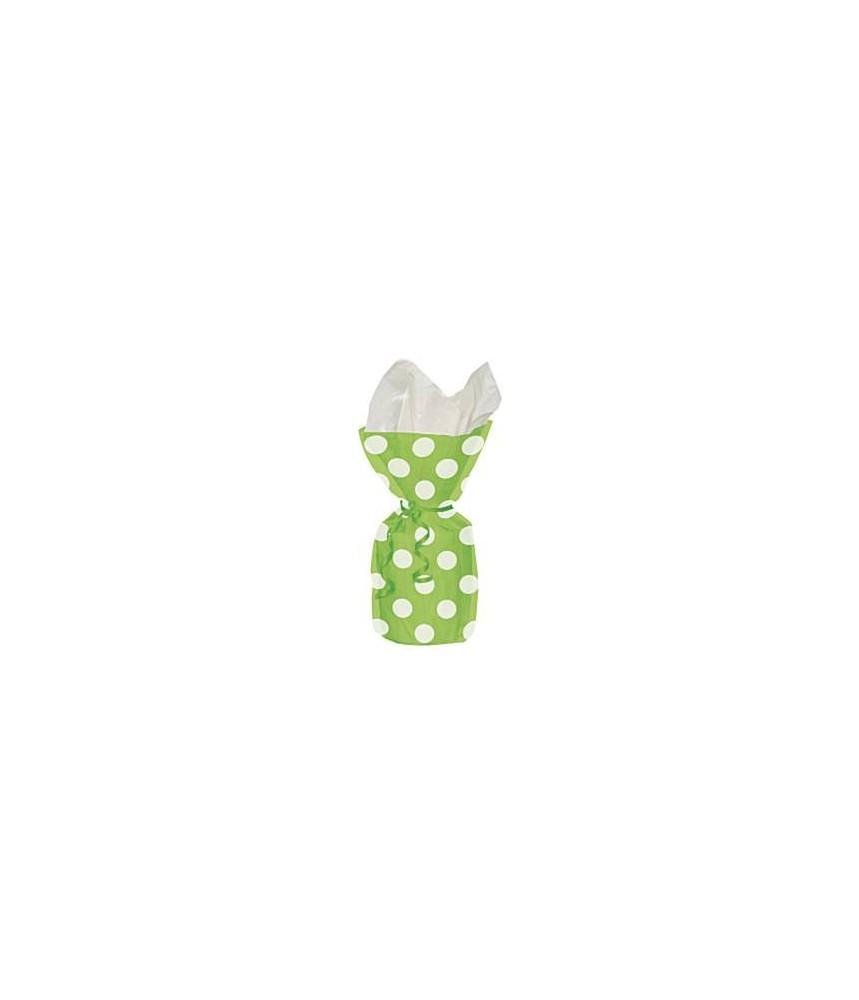 Plastic zakje groot 5st - Polkadots groen