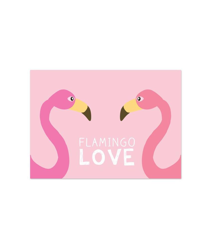"Kaart ""flamingo love"""