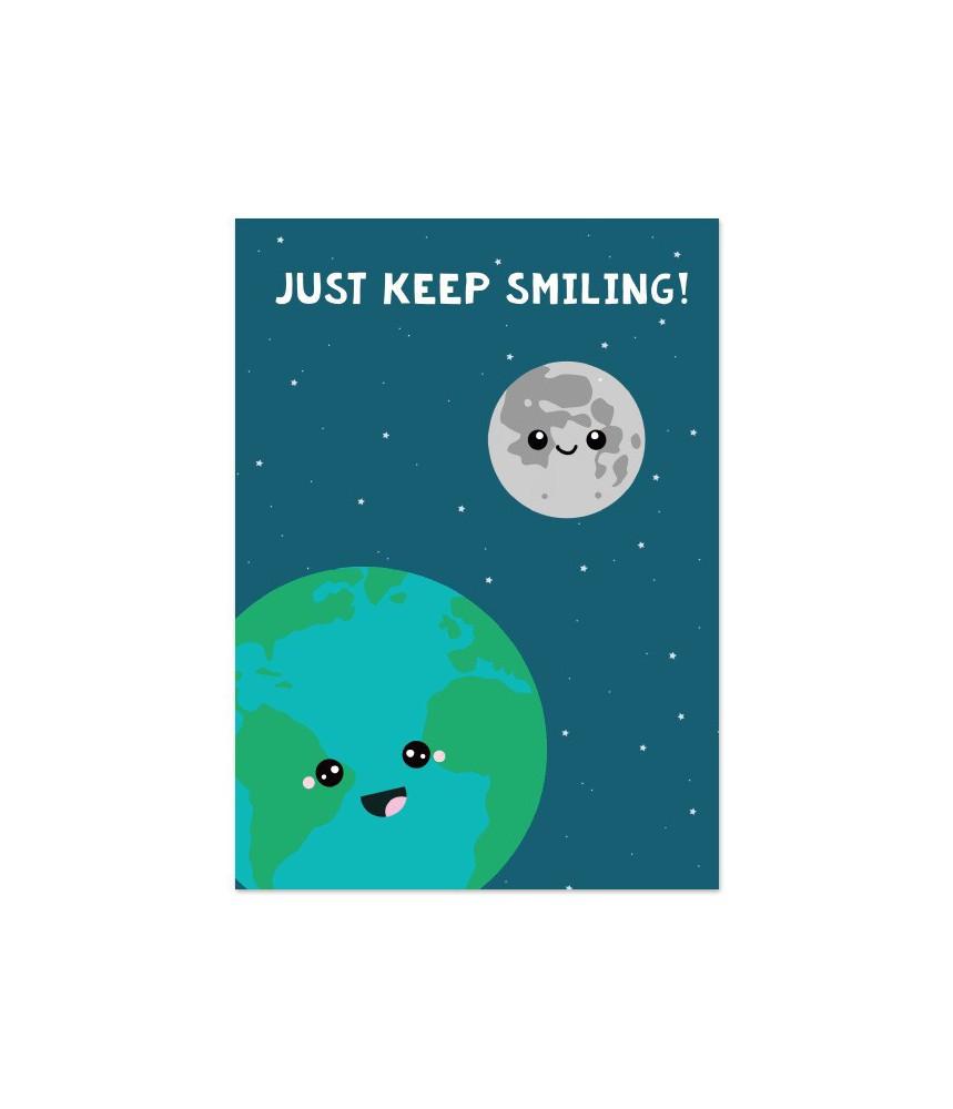 """Kaart """"wereld just keep smiling"""""""