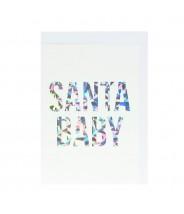 Kerst kaart glitter folie - Santa baby