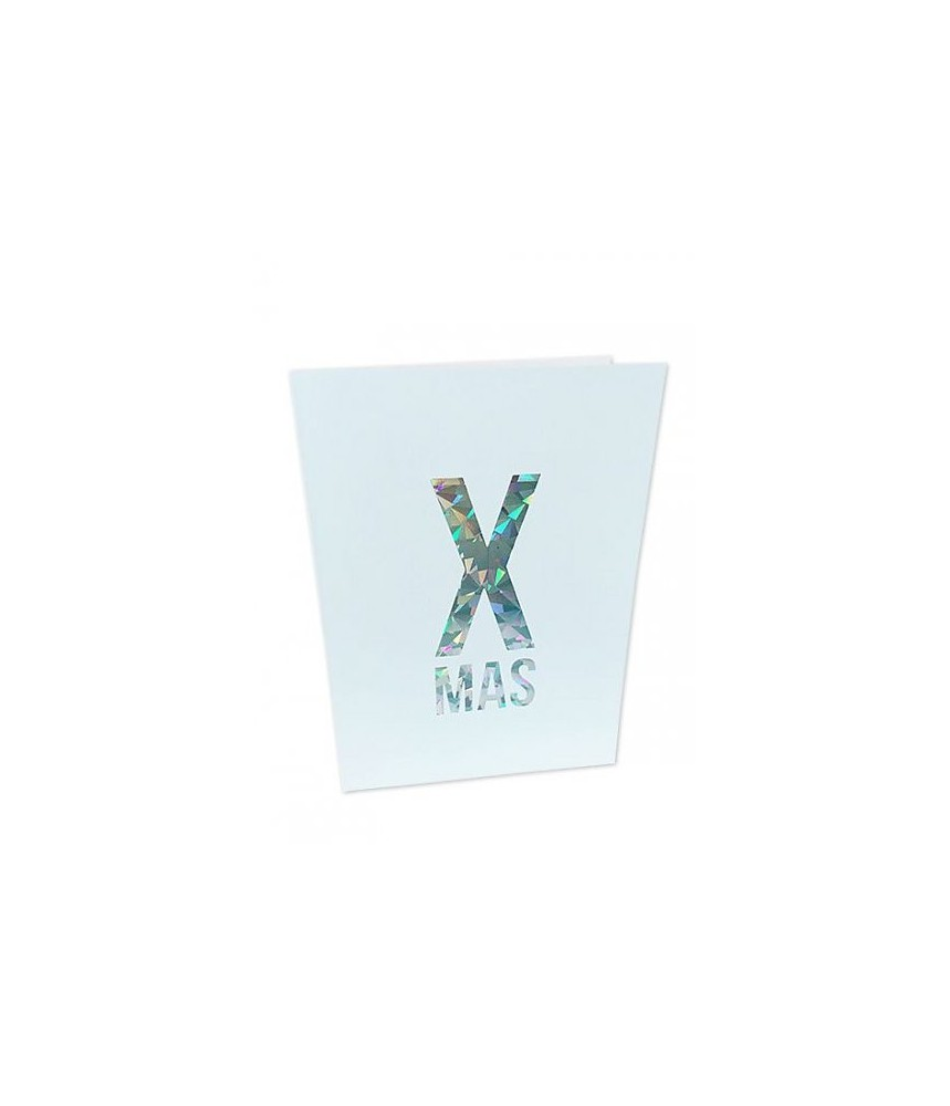 Kerst kaart glitter folie - XMAS