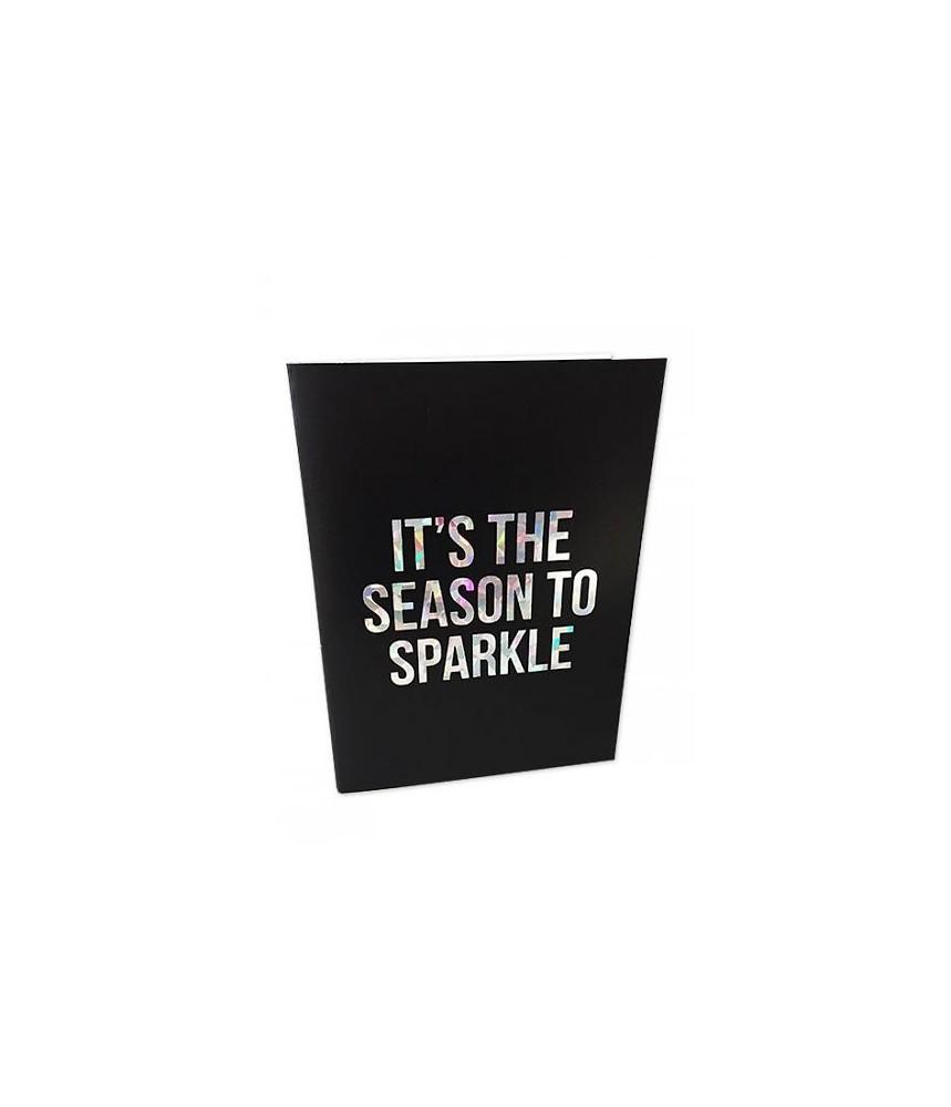Kerst kaart glitter folie - It's the season to sparkle