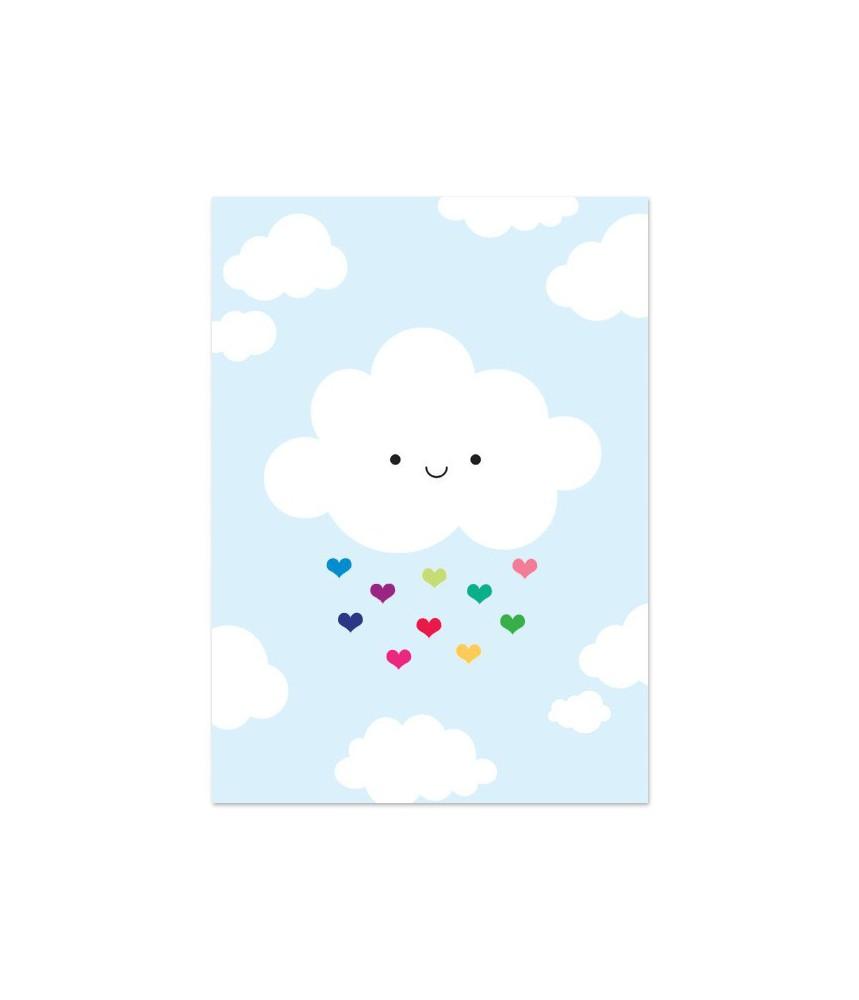 """Kaart """"wolkje gekleurde hartjes"""""""