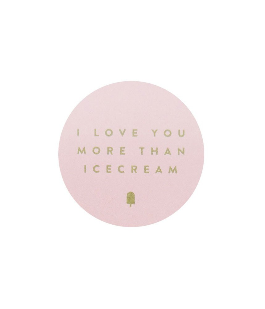 Stickers I love you more than icecream - roze