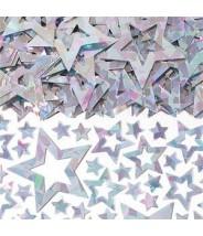 Confetti zilveren sterren holografisch
