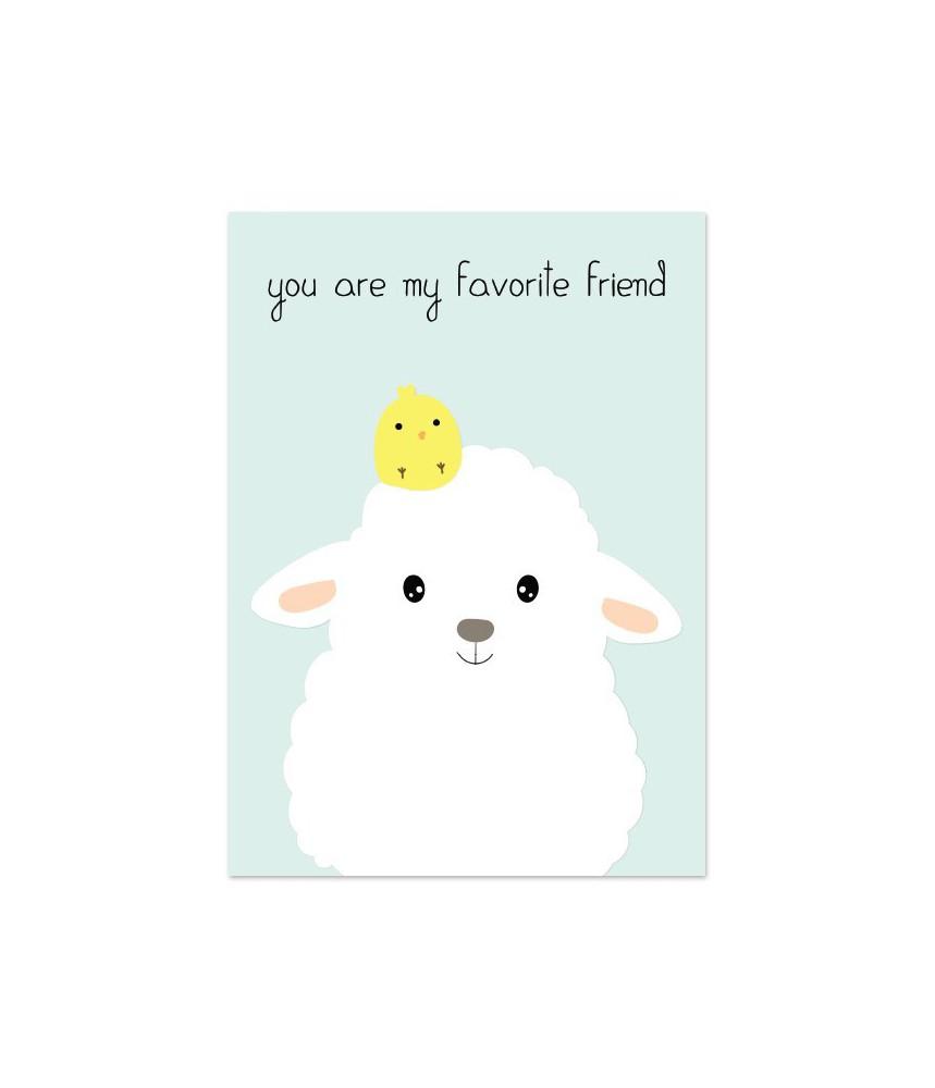 """Kaart """"schaapje favorite friend"""""""