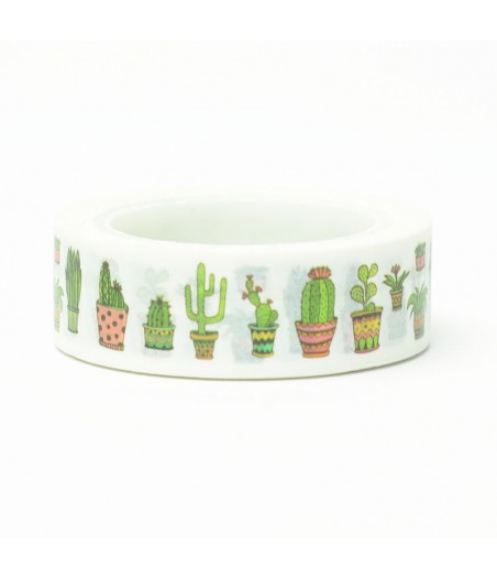 Masking tape cactus in potjes