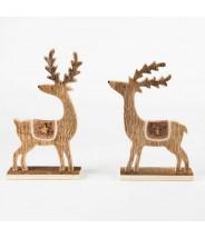 Decoratie hert hout & koper
