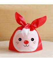 Plastic zakje met oortjes kerst konijn (per 5)