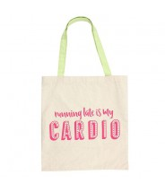 "Katoenen tas ""running late is my cardio"""