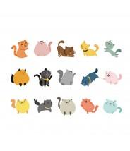 Stickerset katjes gekleurd 45 stuks