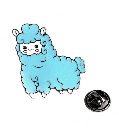 Pin alpaca blauw