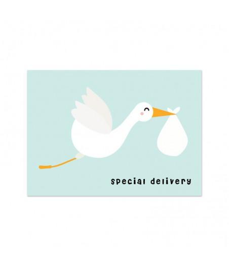 """Kaart """"ooievaar special delivery"""""""
