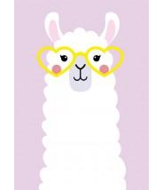 Kaart studio inktvis - Lama met bril