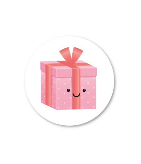 Stickers rond cadeautje roze wit (per 5)