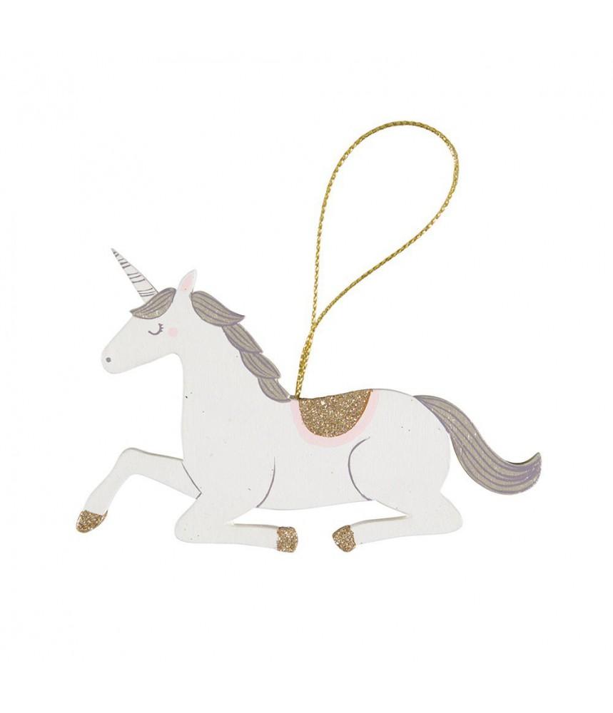 Decoratie hanger kerst unicorn hout