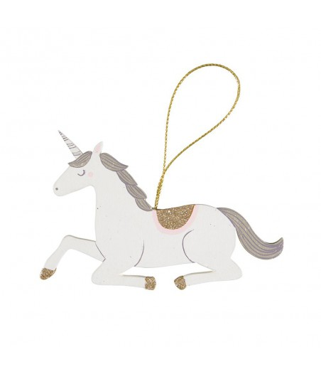 Decoratie hanger unicorn hout glitter