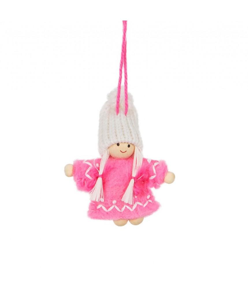 Deco poppetje kerst roze jurkje