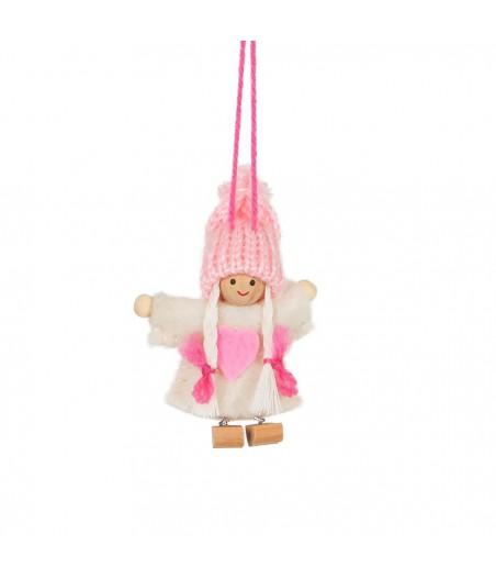 Deco poppetje kerst wit roze jurkje