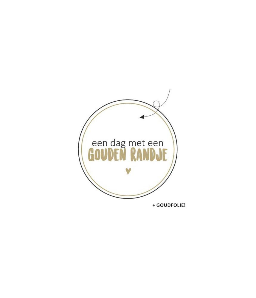 Sticker rond een dag met een gouden randje
