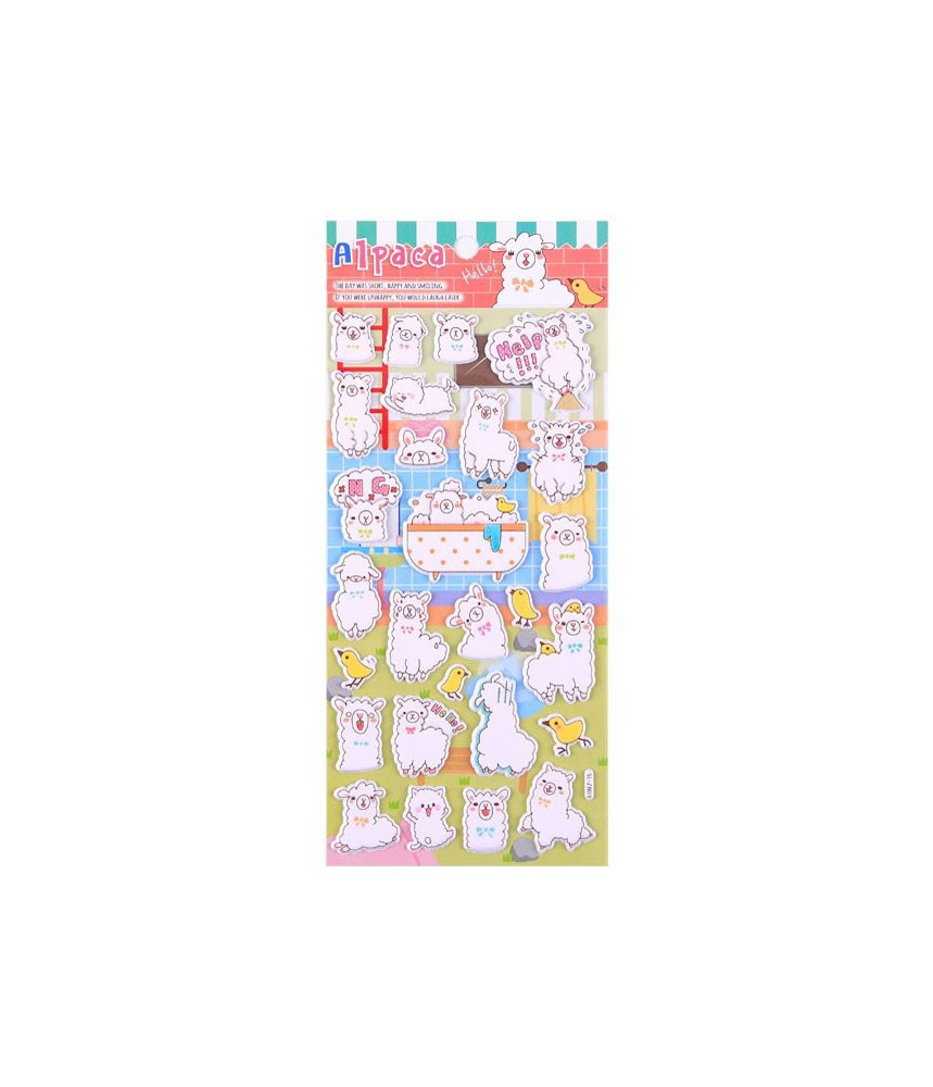 Stickervel puffy alpaca B03