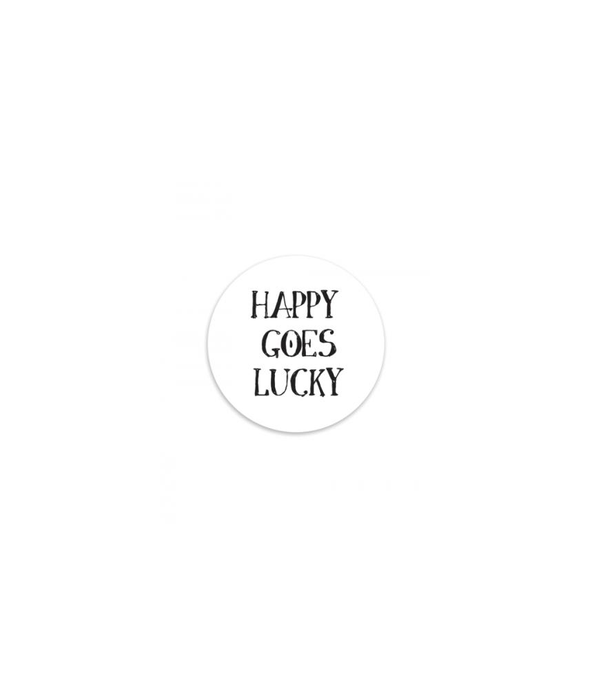 Tekst Stickers Goedkoop.Stickers Met De Tekst Happy Goes Lucky Wit Leuke En Goedkope