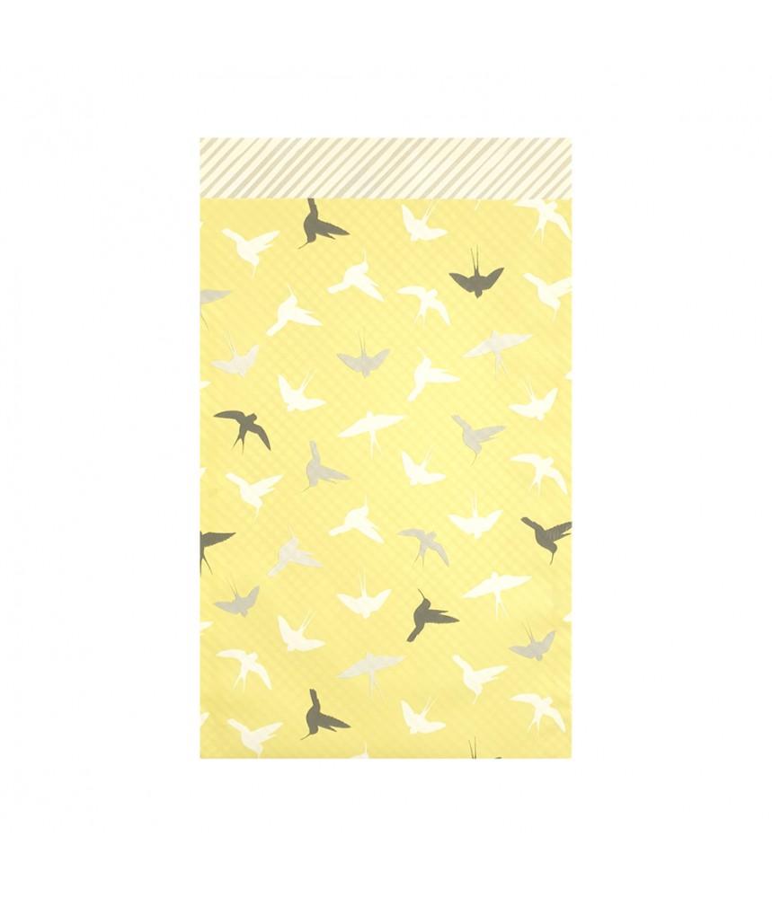 Papieren zakjes geel met vogels