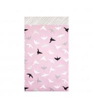 Papieren zakjes paars roze met vogels