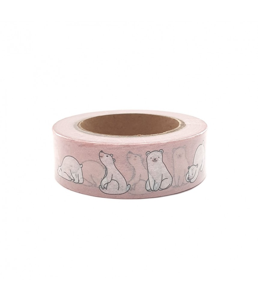 Washi tape roze witte beertjes