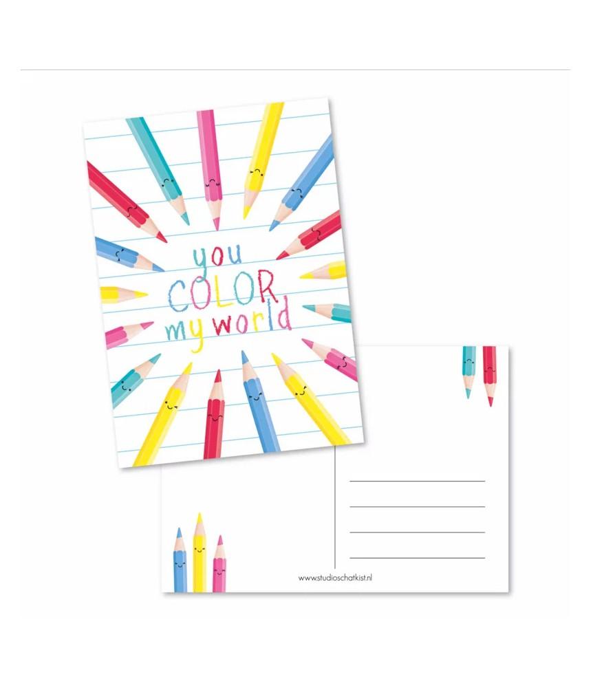 Kaart you color my world (studio schatkist)