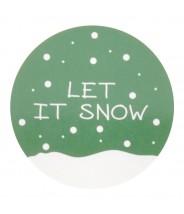 Stickers kerst let it snow groen wit