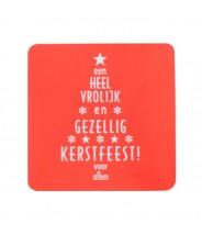 Stickers rood vierkant vrolijk kerstfeest