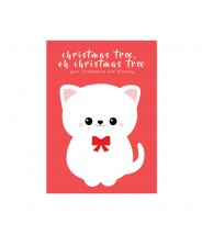 Kerstkaart kat ornaments