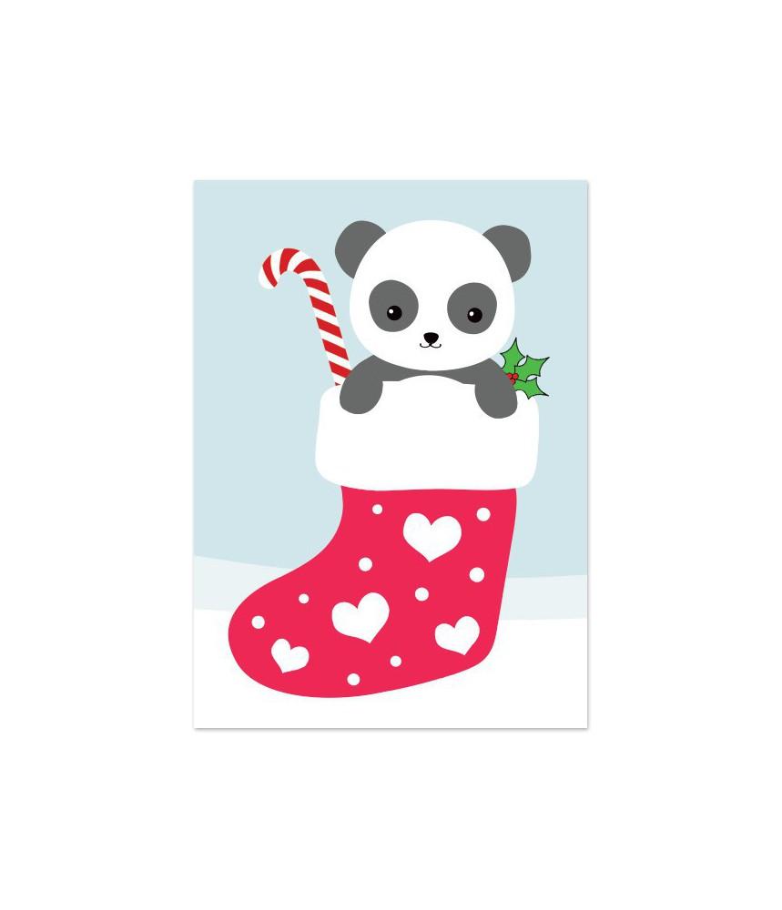 """Kerstkaart """"panda in sok"""""""