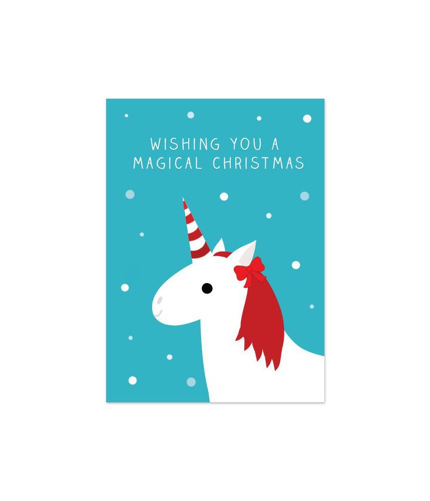 """Kerstkaart """"unicorn magical christmas"""""""
