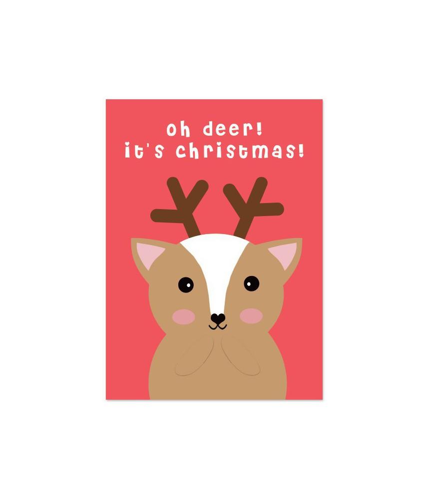 """Kerstkaart """"ohh deer it's christmas"""""""