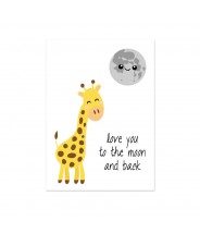 Kaart giraffe love you to the moon and back